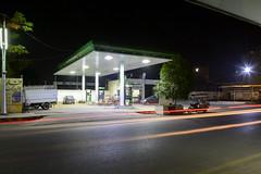 Filling Station. (Hannan Hashim) Tags: road light station night buildings trails filling 18105mm d5200