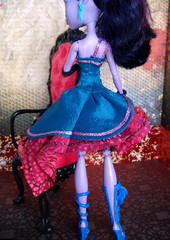 Monster High Jungle Party Dress in Blue by OSullyEmporium (OSullyEmporium) Tags: dress jane ooak fringe dresses custom mh monsterhigh monsterhighclothing monsterhighclothes monsterhighcustomclothing janeboolittle boolittle