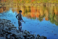 IMG_0320.JPG (Jamie Smed) Tags: park autumn light shadow ohio people usa lake fish reflection fall water youth reflections landscape photography kid fishing october midwest shadows child cincinnati sony innocent parks reflect innocence alpha dslr a200 hdr app 2010 reflects hamiltoncounty handyphoto iphoneedit snapseed jamiesmed