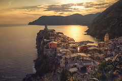 golden hour (cherryspicks) Tags: light sunset sea italy color reflection building water architecture landscape warm mediterranean day historic unesco cinqueterre vernazza goldenhour