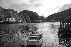 Quidi Vidi Village, St John's, NL, Canada (shooterb9) Tags: bw canada mountains canon newfoundland landscape mono boat fisherman rocks village outdoor pb nl quidividi