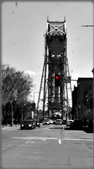 RED LIGHT AT THE LIFT BRIDGE (Visual Images1) Tags: blackandwhite minnesota 6ws duluth selectivecolor fotoflexer