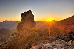 Belougery Spire Sunrise (robertdownie) Tags: trees sky mountains rock forest sunrise rocks australia nsw newsouthwales peaks dyke volcanic warrumbungles breadknife bushland warrumbunglenationalpark shieldvolcano belougeryspire trachyte grandhightops peralkaline