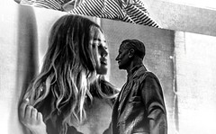 Give me a kiss first and then my regards to Broadway (rayordanov) Tags: bw newyork monochrome artistic manhattan perspective broadway timessquare americanoutfitters georgemcohanstatue