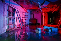 Red-Blue Basement (Notley) Tags: blue roof light red lightpainting reflection abandoned water puddle evening midwest interior basement reflect missouri ladder redlight bluelight wetfloor 2016 leakyroof 10thavenue notley ruralphotography boonecountymissouri ruralusa notleyhawkins missouriphotography httpwwwnotleyhawkinscom notleyhawkinsphotography