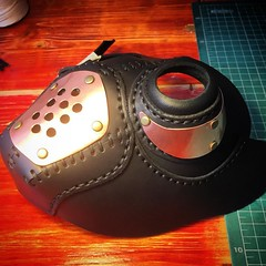 New mask being designed. #Cyberpunk #CyberGoth #postapocalyptic #postapocalypse #steampunk #steampunkmask #leathermask #handmade #LARP #dieselpunk #leather #Darkart #costume #burningman (tovlade) Tags: black girl face make up leather punk hand mask goth goggles made doctor cyber cybergoth cyberpunk plague larp steampunk postapocalyptic postapocalypse dieselpunk