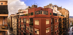 Palma desde mi balcon (Sacule) Tags: street city windows winter red panorama color building rain clouds canon spain colorful mediterranean balcony wide panoramic pasted mallorca palma baleares 2016 600d sigma1770