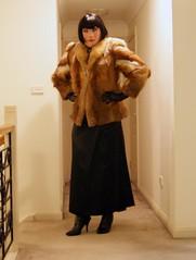 Black Encounter (6) (Furre Ausse) Tags: red black leather fur belt dress boots coat skirt jacket gloves fox satin dominant governess