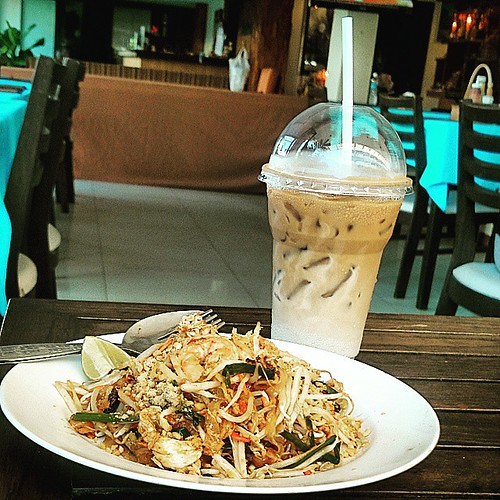 Another #PadThai breakfast and ice cold coffee before heading to the beach at #JomTien #Pattaya . Beach bumming baby! #Solo #Travel and #Vacation #Thailand #Asia ~ May 1, 2015, Friday