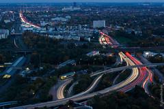 Berlin - abendlicher Blick vom Funkturm auf die Stadtautobahn