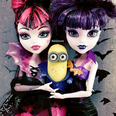 Gone Batty (Nataloons) Tags: pink black me monster yellow movie toy high doll purple bat dracula gone villain vampires mattel bats batty minions despicable minion gonebatty monsterhigh draculaura elissabat