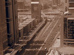 Sheikh Zayed Road and its traffic.