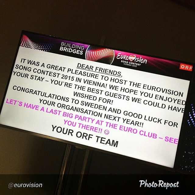 Okay, just wait another year! Thank you #ORF #Eurovision2015  By @eurovision Bye Vienna. And thanks for everything! #Eurovision via @PhotoRepost_app
