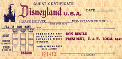 Disneyland Guest Certificate, 1966-7 (Tom Simpson) Tags: vintage tickets disneyland pass free ticket disney passport vintagedisney disneylandtickets