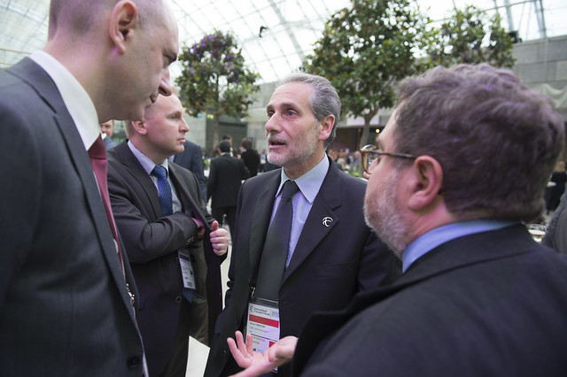 Enrico Finocchi in discussion at the reception