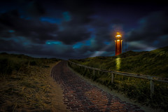Lit path to the Lighthouse (Explored 18-5-2016) (mcalma68) Tags: longexposure lighthouse holland dutch night landscape bluehour
