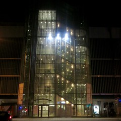 Munich after sunset: staircase to offices. (F.R.L., disgusted by 30/60) Tags: night munich staircase worldtrekker