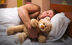 Sleeping man in bed with toy bear (bullinacave) Tags: bear sleeping baby man men guy home childhood comfortable fun toy one evening cozy clothing bed bedroom eyes hug funny child play adult little interior room lifestyle ukraine pillow domestic innocence rest resting relaxation lying ideas pleasure laziness cosy pleasant pajama concepts nightwear positivity huging zzzaclaaaiejenehfpdhdbdjdh