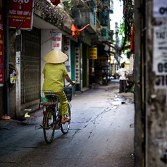 Cau Giay, Hanoi, Vietnam -2 (BryonLippincott) Tags: street city morning travel trees light summer people green art hat bike bicycle sunrise alone cyclist candid sony streetphotography documentary vietnam explore riding alleyway photowalk moment hanoi decisivemoment vn caugiay hni sonyalpha signsposters sonya99