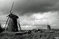 Windmills @ Kinderdijk The Netherlands (JanJGorter) Tags: blackandwhite holland netherlands canon windmills kinderdijk molens windmolens