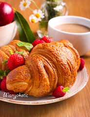 Croissants with fresh berries (manyakotic) Tags: appetizer background bake baked board bread breakfast brunch bun cacao cappuccino coffee croissant crust cup dessert food fruit golden mint mug pastry raspberry roll snack strawberry sweet treat