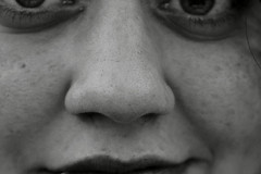 face to face (pictografie) Tags: people blackandwhite bw white black face mouth nose eyes women gesicht menschen augen frau makro nase mund istanbul15