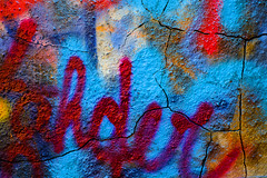 Layers (David Guidas) Tags: blue red urban abstract color detail texture wall writing concrete graffiti paint spray fujifilm wheeling xpro2 xf35mm