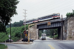 Bullets at Conshohocken Rd 8-16-90 (jsmatlak) Tags: philadelphia electric speed train high metro pennsylvania tram railway line western septa norristown brill pw redarrow