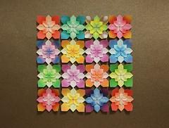 Mini Hydrangeas (Shuzo Fujimoto) (OrigamiSunshine) Tags: flower paper miniature origami colorful mini hydrangea tessellation paperfolding fujimoto shuzo origamisunshine