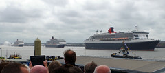 The Cunard Three Queens lined up on the Mersey in Liverpool (andyflyer) Tags: liverpool boat mersey rivermersey