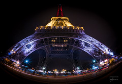 Eiffel Tower [16mm Fisheye] (josefrancisco.salgado) Tags: paris france night nikon europa europe ledefrance eiffeltower eiffel toureiffel torreeiffel champdemars nikkor fr 16mmf28dfisheye fullframefisheye d810a