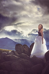Lost (Alyssa Mort) Tags: portrait sky selfportrait mountains girl clouds women rocks surreal skirt conceptual alyssamort