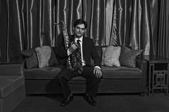 The horn player (Mitch Tillison Photography) Tags: portrait blackandwhite bw musician newmexico monochrome photography photo albuquerque entertainer saxophone strobe highiso hornplayer ad360 wistro bandmember nikond5 iso2500 hotelandaluz godox mitchtillison sinasoul