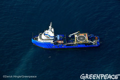 Vessels Respond to Spill (Greenpeace USA 2016) Tags: ocean usa gulfofmexico louisiana ship gulf shell greenpeace aerial oil drilling skimming fossilfuel breakfree cleanenergy portfourchon