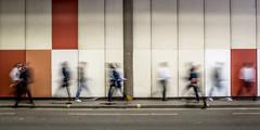 Rush Hour (Sean Batten) Tags: street city england people urban blur london walking unitedkingdom streetphotography tunnel barbican motionblur gb