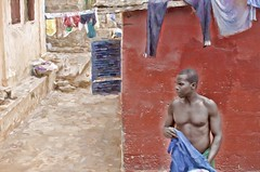 laundry day in Accra (Pejasar) Tags: man dry work clothing drying male shirtless muscle red wall art painterly accra ghana westafrica africa laundry laundryday clothesline pants shirts color paintcreations