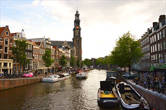 Prinsengracht (angelsgermain) Tags: trees houses light summer people church netherlands amsterdam boats evening canal view perspective vehicles westerkerk annefrankhuis northholland