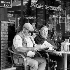 Regular customers (John Riper) Tags: street bw white black reflection cup window netherlands glass coffee monochrome canon john square photography mono restaurant glasses newspaper cafe pub zwartwit terrace candid character cap l spectacles schiedam isostar 6d 24105 beenham straatfotografie riper vierkantje johnriper photingo