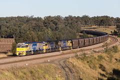 "2016-06-06 Glencore XRN019-XRN004-XRN009 Hermitage Rd BC110 (Dean ""O305"" Jones) Tags: train au rail australia newsouthwales locomotive coal loaded belford bulga ugl xstrata glencore c44aci xrn004 xrn009 xrn019 bc110"