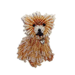 TEACUP POMERANIAN beaded keepsake dog pin pendant (The Lone Beader) Tags: pets shopping beads handmade embroidery jewelry gifts etsy beading beaded beadwork beadembroidery amazonhandmade