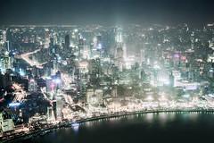 Shanghai at night (pfn.photo) Tags: china tower fog night skyscraper smog asia bright huangpu longtimeexposure megacity