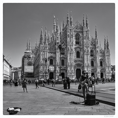 197/366 black white day (wideness) Tags: entwicklung 2016 july 366the2016edition 3662016 366dayproject blackandwhite blackwhiteday square 16mm fujinonxf16mmf14rwr fujifilmxt1 fujifilm milan busker guitarist cathedral travel
