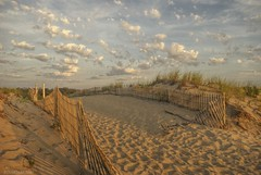 Drifting away....HFF!!! (Joe Hengel) Tags: hff happyfencefriday fence fenceline fencefriday sand rehobothbeach delaware clouds cloudsbluesky dunes sanddunes sandunes berm southerndelaware seascape seaside seashore beach morning morninglight