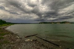 Strike one (Len Langevin) Tags: storm thunder lightning clouds sky weather alberta canada lake landscape nikon d300s tokina 1116