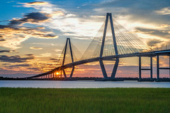 Ravenel Sunset (APGougePhotography) Tags: ravenel bridge cooperriver river cooper southcarolina sc south carolina charleston chs nikon nikond800 d800 sun sunset clouds topaz topazlabs clarity detail topazclarity topazdetail