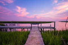 Nowhere To Go But Here (DJawZ) Tags: sunset ocean bay atlantic marsh grass docks pilings moon clouds sky summer water view landscape nj new jersey outdoor soft pastel serene