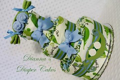 Peas in a Pod Baby Diaper Cake Boys Twins Shower gift Centerpiece (2) (Dianna's Diaper Cakes) Tags: baby diaper cakes shower centerpieces gifts boys girls neutral diannas decoration