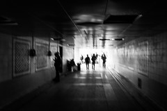 Hesitant look / Scene from a nightmare (zgr Grgey) Tags: 2015 24120mm bw d750 darkcity karaky nikon blur jitter silhouettes street istanbul