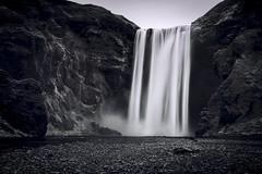 Skogafoss & Gray Tone (Luís Henrique Boucault) Tags: longexposure white black nature water landscape waterfall iceland rocks europe day clear nordic skogafoss luishenriqueboucault