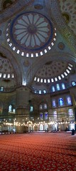Red carpet, blue ceiling (rcolonna) Tags: panorama turkey turkiye istanbul mosque bluemosque sultanahmet